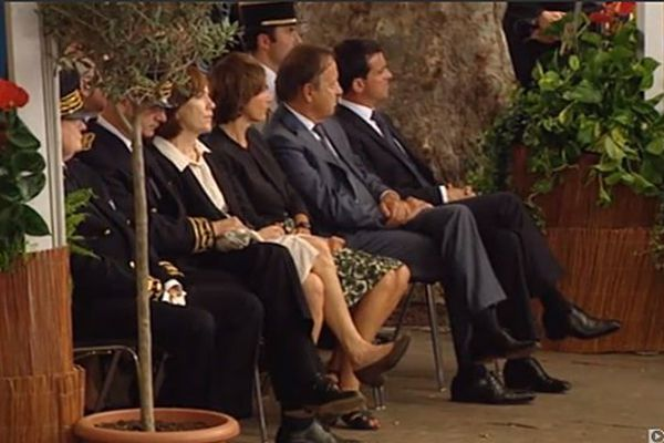 Manuels Valls, Jean-Pierre Bel, Marisol Touraine et Laurence Rossignol, aux obsèques de Christian Bourquin à Millas le 29 août 2014