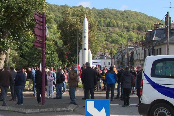 4 octobre 2021 : manifestation des salariés d'Ariane-Group à Vernon (Eure)