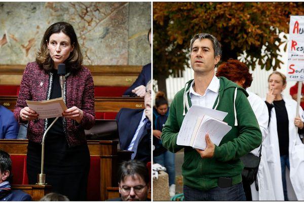 De gauche à droite : Charlotte Lecocq à l'Assemblée nationale le 23 janvier 2018 lors des questions au gouvernement / François Ruffin lors de la manifestation des personnels de Psychiatrie au sein de l' Hôpital Sainte Anne à Paris le 6 septembre 2018.