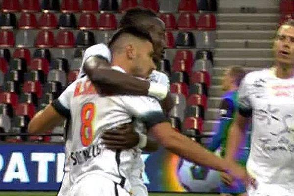 La joie du MHSC qui ouvre le score avec un but de Morgan Sanson en première mi-temps contre Guingamp