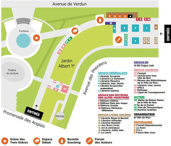 Le plan de la 23ème édition du Festival du Livre.