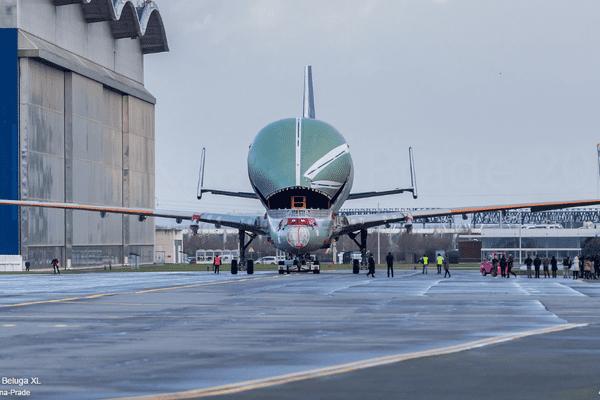 Le premier Beluga XL, successeur du Beluga, le 4 janvier 2018 à Toulouse