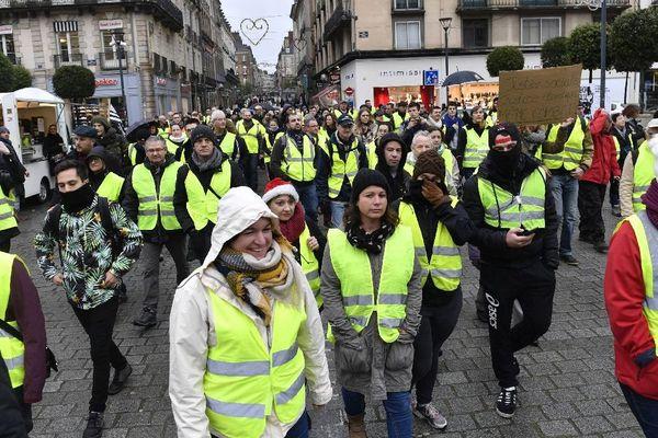 Manifestation de gilets jaunes à Rennes, ce 1er décembre 2018