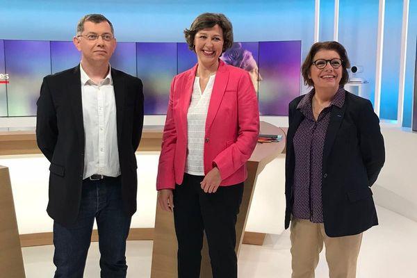 Jean Paul Vermot et Agnès Le Brun étaient face-à-face pour le débat du second tour des municipales de Morlaix ce 18 juin à 18h, présenté par Nathalie Rossignol (au centre).