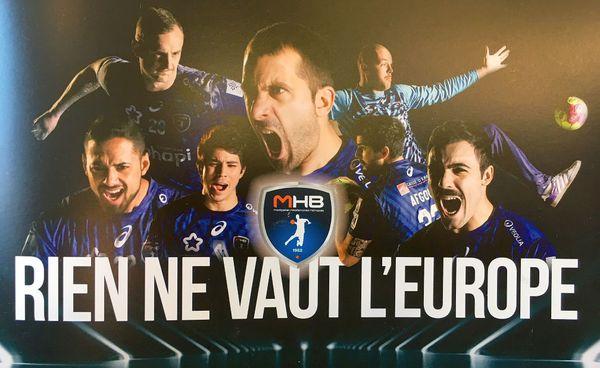 Le slogan du MHB pour la Ligue des champions contre Skopje. 2018.