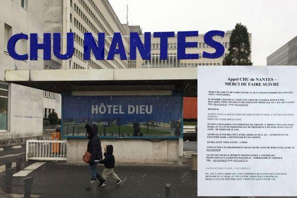 Non le CHU de Nantes n'a toujours lancé d'appel aux dons pour sauver une petite fille