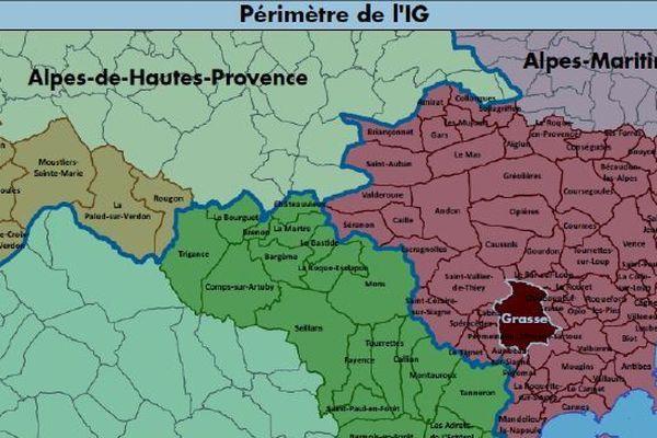 """Le périmètre dans lequel doivent être cultivées ou cueillies les plantes à parfum à l'origine de l'""""Absolue Pays de Grasse""""."""