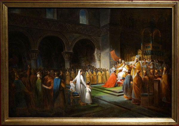 """Le """"Sacre de Pépin le Bref par le pape Etienne II à Saint-Denis, le 28 juillet 754"""" peint en 1837 par François Dubois est exposé au château de Versailles."""