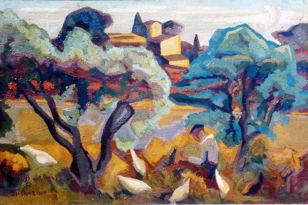 """""""La fondue dans les oliviers"""" peint par Colette Richarme en 1947 ."""