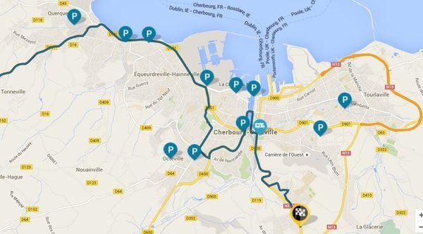Carte des parkings à Cherbourg en Cotentin - Tour de France 2016 2eme étape - 3 juillet 2016 (cliquez sur l'image pour l'agrandir)