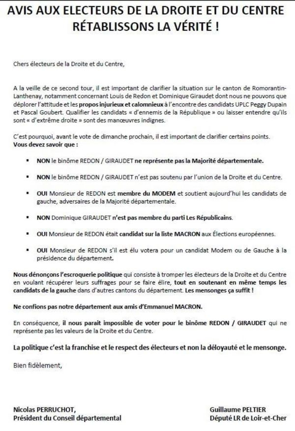 La lettre distribuée entre le 24 et le 25 juin dans le canton de Romorantin-Lanthenay