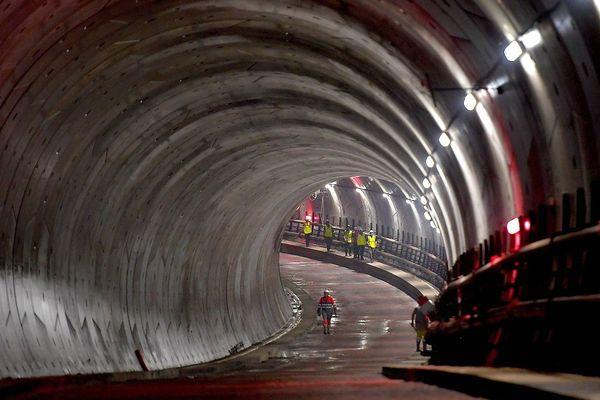 Dans les entrailles de la future ligne B du métro de Rennes. Visite du tunnel entre La station Saint-Germain et de la place Sainte-Anne en juin 2018.