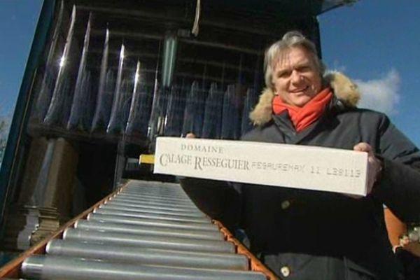 Saint-Bauzille-de-la-Sylve (Hérault) - le comédien François-Eric Gendron présente son vin Fegauremax qui sera servi à l'Elysée - 29 janvier 2013.