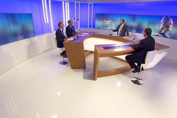 Sur le plateau de notre débat du premier tour des élections départementales dans l'Ain, Jean Deguerry (LR), Christophe Greffet (PS) et Maxime Chaussat (RN)