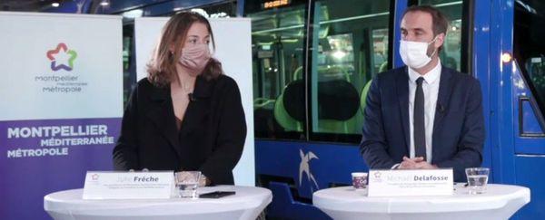 Julie Frêche, Michaël Delafosse et Laurent Nison, président la TaM, le 9 décembre 2020 à Montpellier.