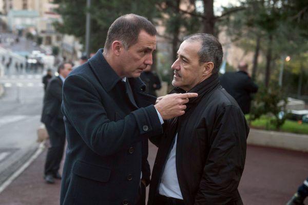 Les présidents du conseil exécutif et de l'Assemblée de Corse Gilles Simeoni et Jean-Guy Talamoni.