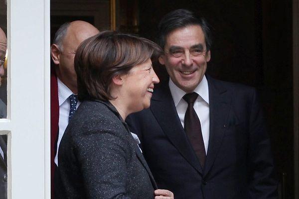 Martine Aubry et François Fillon à Matignon en 2009.