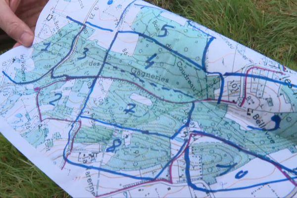 Carte et zone de battue dans la forêt du Pinail (Vouneuil-sur-Vienne) lors de la recherche d'un homme de 86 ans.