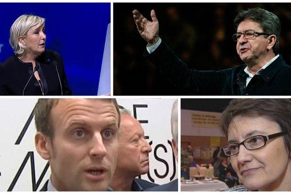 M Le Pen, JL Mélenchon, E. Macron et N. Arthaud