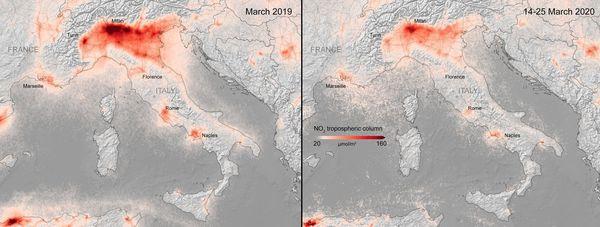 Taux de la pollution en dioxyde d'azote NO2 de l'Italie AVANT et PENDANT le confinement
