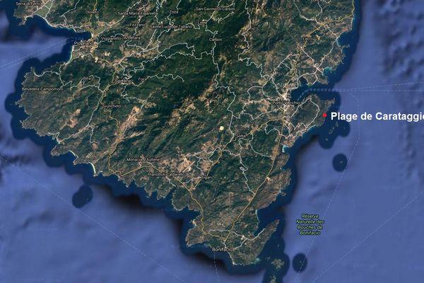 ILLUSTRATION - Situation de la plage de Carataggio en Corse du Sud