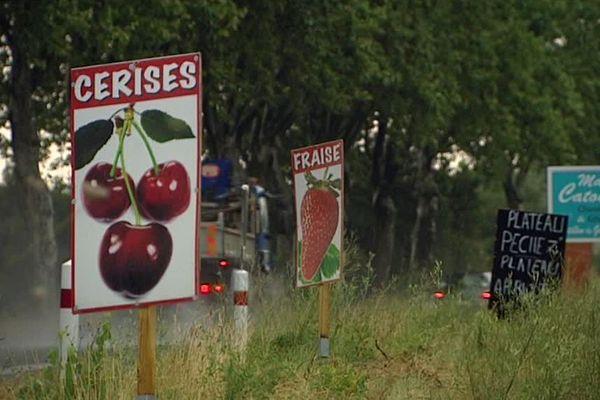 Vente sauvage de fruits et légumes en bord de route, dans l'Hérault - juillet 2018