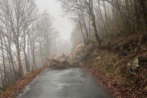 Ain : la RD 103 fermée après une chute de rochers à hauteur de Rossillon - 1/2/21