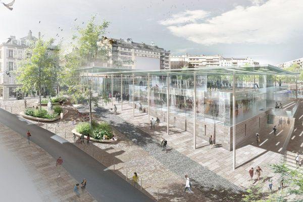 """Le bâtiment de la """"Halle République"""" qui pourrait abriter le CIAP sur la place"""