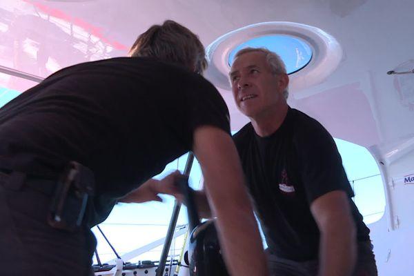 Roland Jourdain et Yannick à l'entraînement