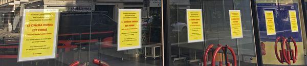 Les portes (fermées) du cinéma Omnia de Rouen le 29 avril 2020