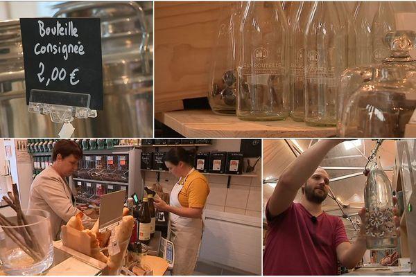 De plus en plus de commerces proposent un service de consignes pour rapporter ses bouteilles en verre, ou les remplir à nouveau