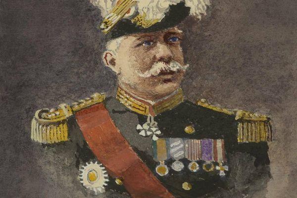 Caricature de Joffre - Illustration faite par le Lieutenant Colonel Guillaume Cullard dans son Journal d'un Dijonnais 1914-1919