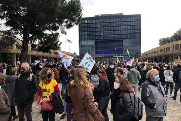 """Une nouvelle manifestation se tient ce samedi matin à Montpellier contre la Loi """"Sécurité Globale""""."""