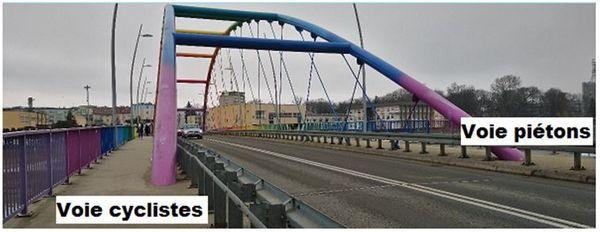 """Un exemple de pont de type """"Bow String"""" avec voies douces en encorbellement, suggéré par le commissaire-enquêteur"""