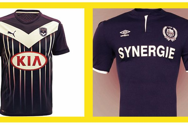 À gauche le maillot des Girondins à droite celui des Canaris pour les matches joués loin de la Beaujoire.