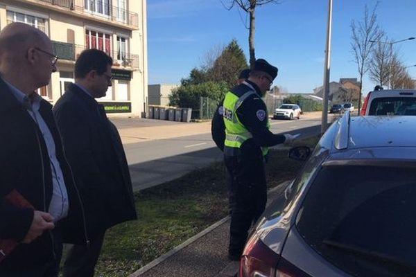 Les contrôles de police effectués en présence du préfet de l'Aisne à Laon mardi 17 mars