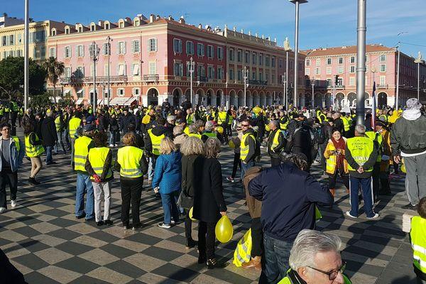 Manifestation des Gilets Jaunes à Nice place Masséna (archives).