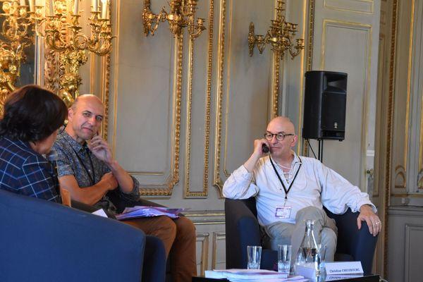 Causerie scientifique : Claude Poissenot (à gauche) et Christian Chelebourg (à droite).