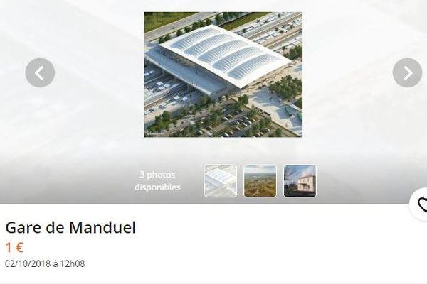 La future Gare TGV de Manduel à Nîmes en vente sur leboncoin à un euro - 3 octobre 2018