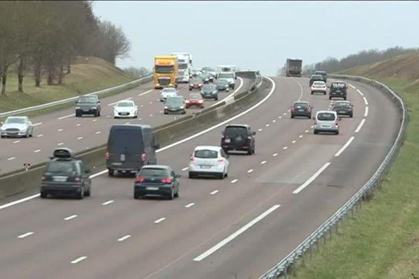 L'A6, à proximité de Beaune (Côte-d'Or).
