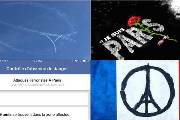 Tweets et post Facebook en lien avec les attentats de Paris et Saint-Denis.
