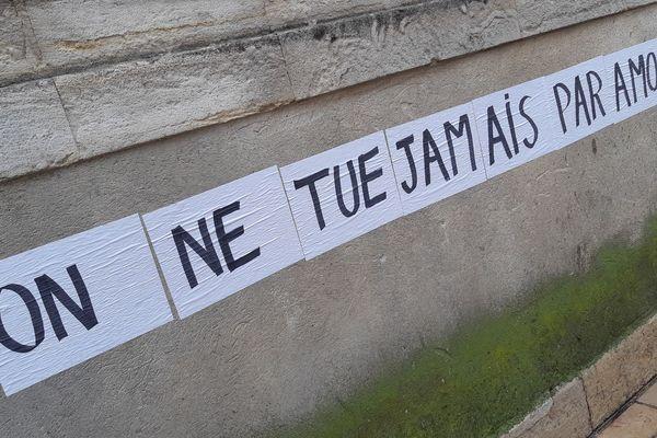 Slogan lors d'une manifestation contre les violences conjugales, le 23 novembre 2019 à Nîmes.