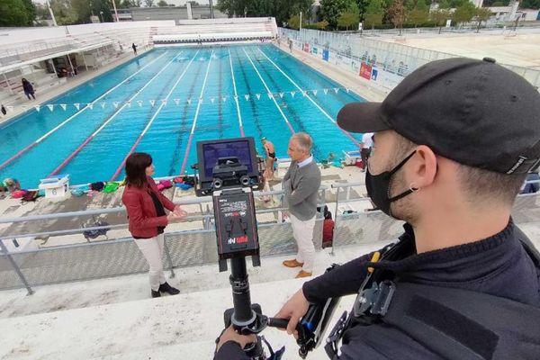 Enquête de région au club de natation les Dauphins du TOEC à Toulouse, avec son président Vincent Gardeau.