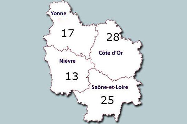 Avec 83 cas signalés entre avril 2014 et mai 2015, la Bourgogne est la treizième région la plus touchée par les radicalisations (rapport radicalisations / nombre d'habitants)