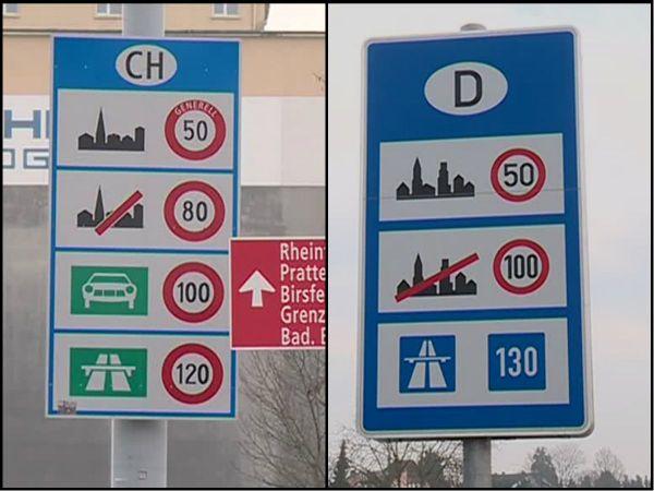 Panneaux de limitation de vitesse en Suisse et en Allemagne