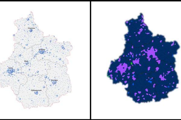 A gauche, la carte des électeurs permettant de lire les densités de population. A droite, les votes.