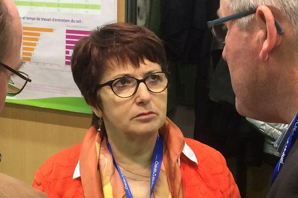 Christiane Lambert, la présidente de la FNSEA, le principal syndicat agricole lors du salon des productions végétales d'Angers (SIVAL), le 16 janvier 2018.