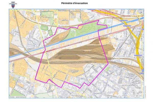 La carte du périmètre d'évacuation pour l'opération de déminage du 6 septembre 2015 à Noisy-le-Sec (Seine-Saint-Denis).