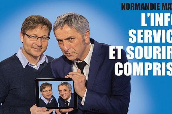 """Laurent Quembre et Jan-Lou Janeir présentent l'émission """"Normandie Matin"""""""