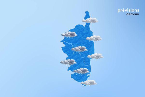 Des précipitations sont attendues toute la journée sur l'intégralité de la Corse.